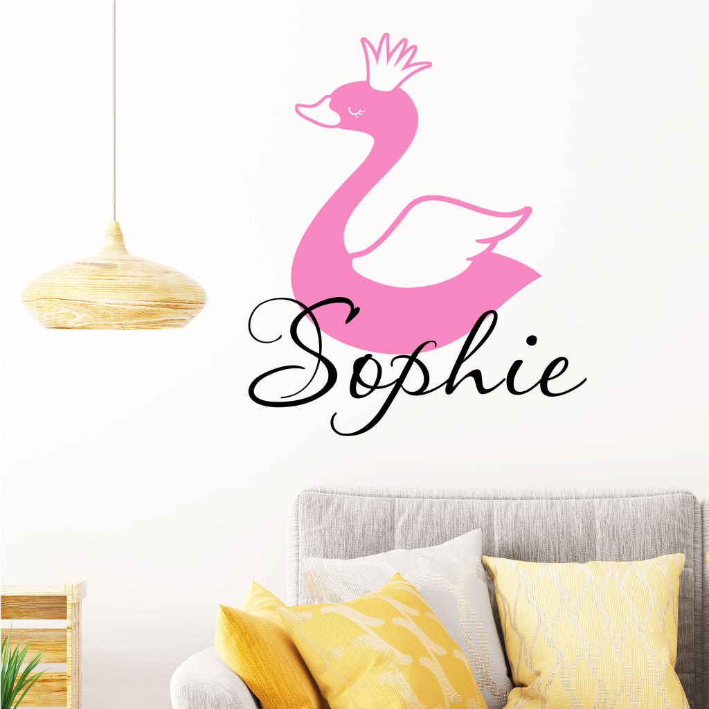 Swan Girls Personalised name sticker