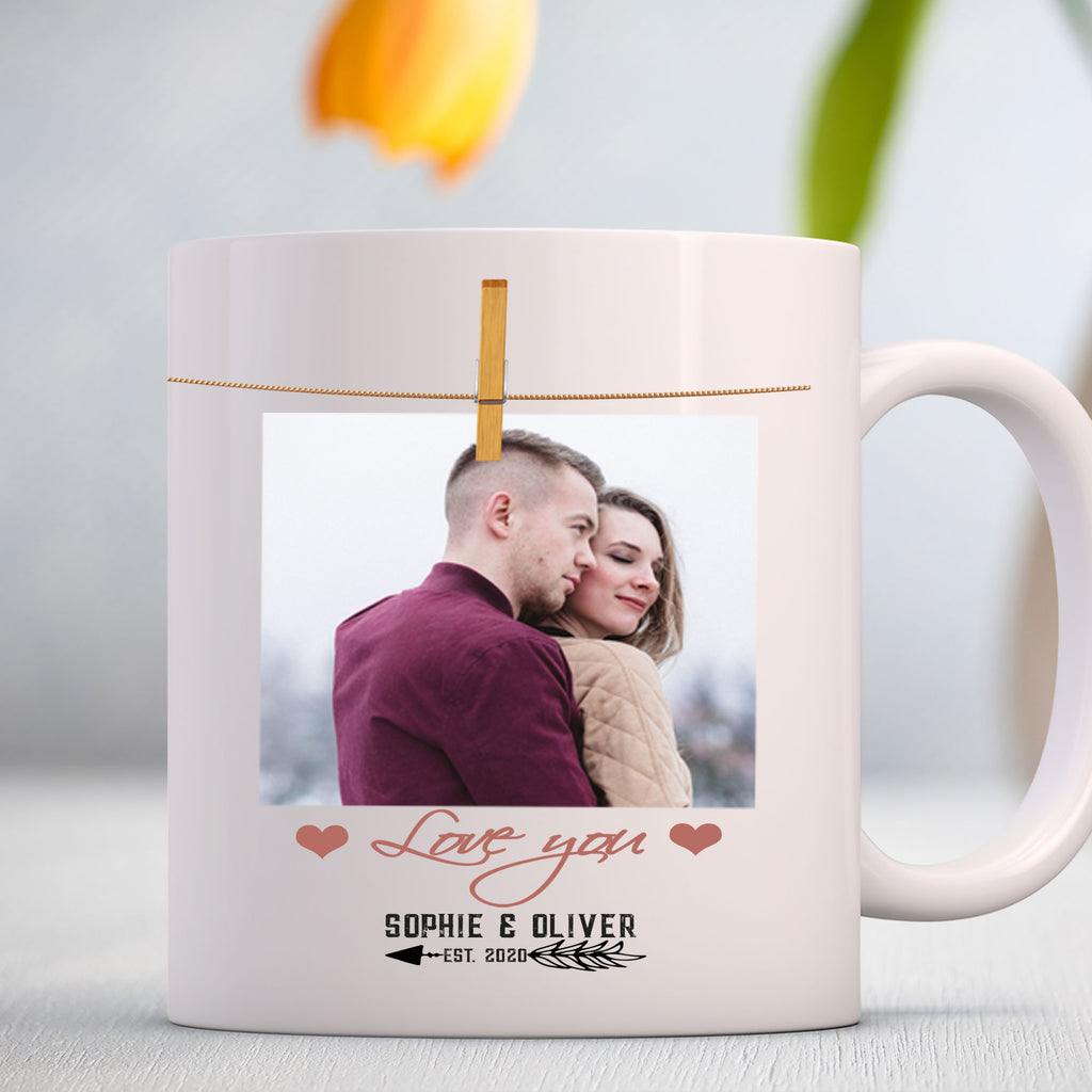 Photo & EST Year printed Couple Personalized Mug
