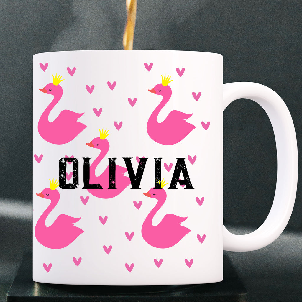 Swans Girls Name Personalized coffee mug