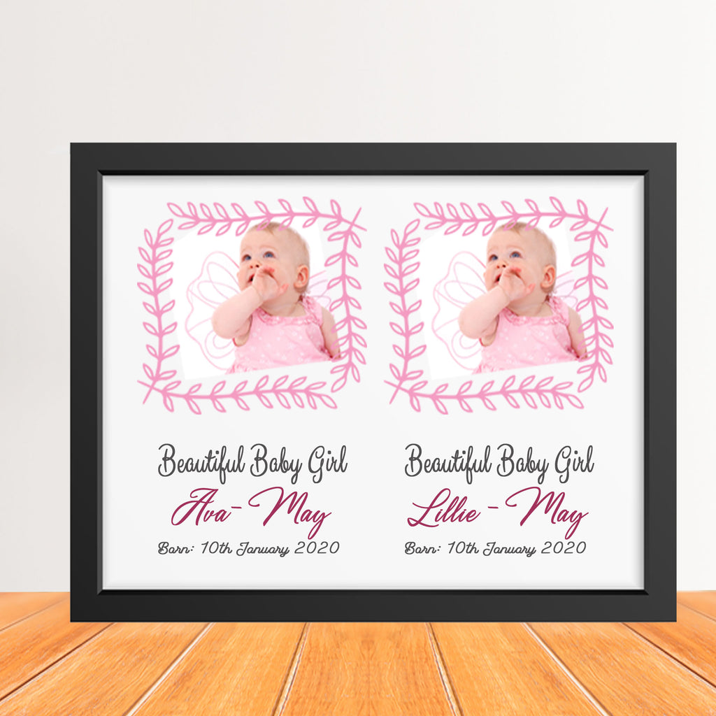 Twin Baby Picture Frame with Personalized Name