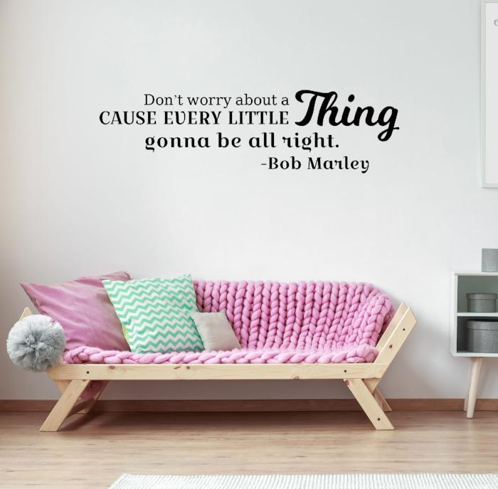 Don't worry about a thing - Bob Marley quotes, inspirational quotes decor, Vinyl Wall Quotes, Nursery Wall Art Stickers, Office wall Decal