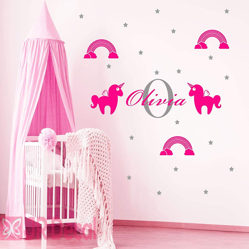 Girls Name Unicorn Rainbow Wall Sticker
