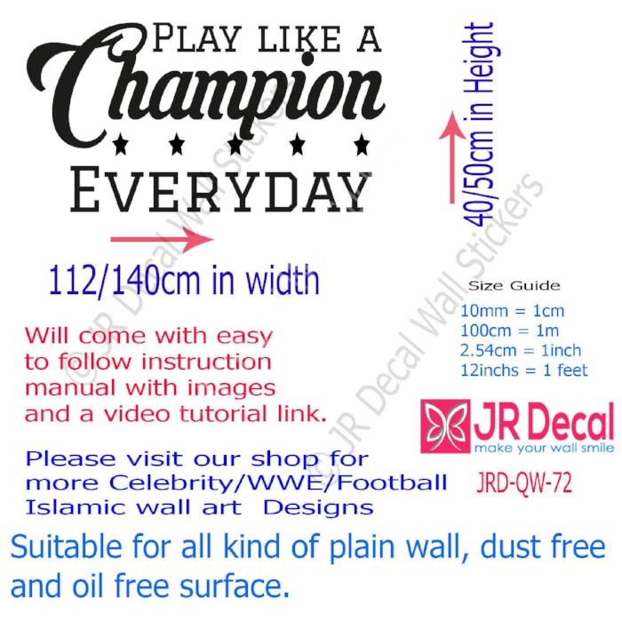 """Play like a Champion Everyday"" Quote motivational wall Decals Vinyl Art Stickers"