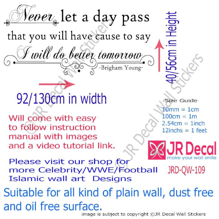 """Never let a day pass""- Brigham Young Motivational stickers for walls Vinyl decals"