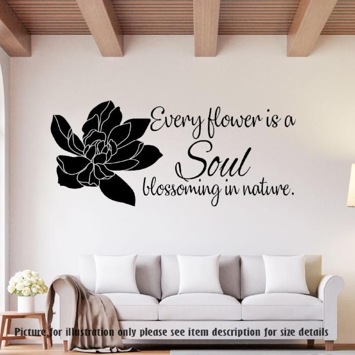 """Every flower is a Soul"" Flower wall stickers"