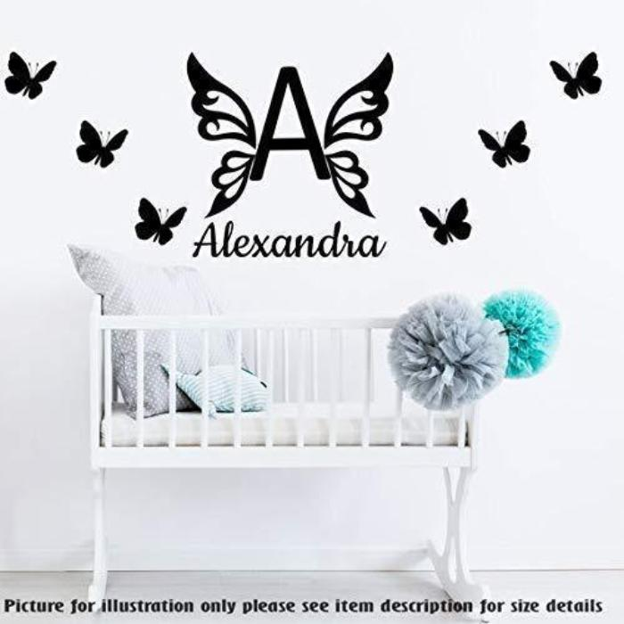 butterfly monogram wall stickers, personalised name butterflies wall