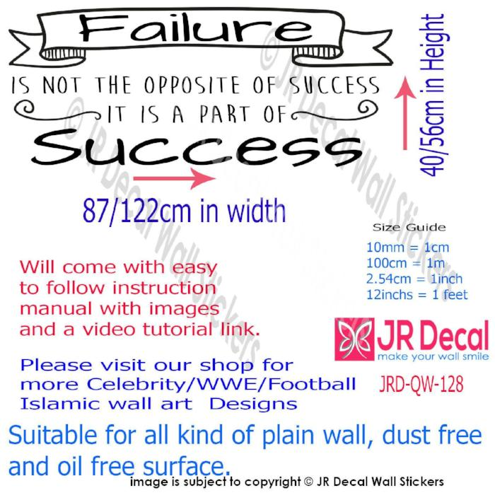 """Failure is part of success""- inspiring Quote Decals Vinyl Wall Art Sticker Decor"