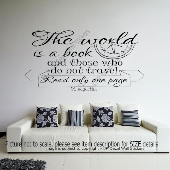 """The world is a book""- Augustine Quote Inspirational Wall Decal Vinyl Art Stickers"