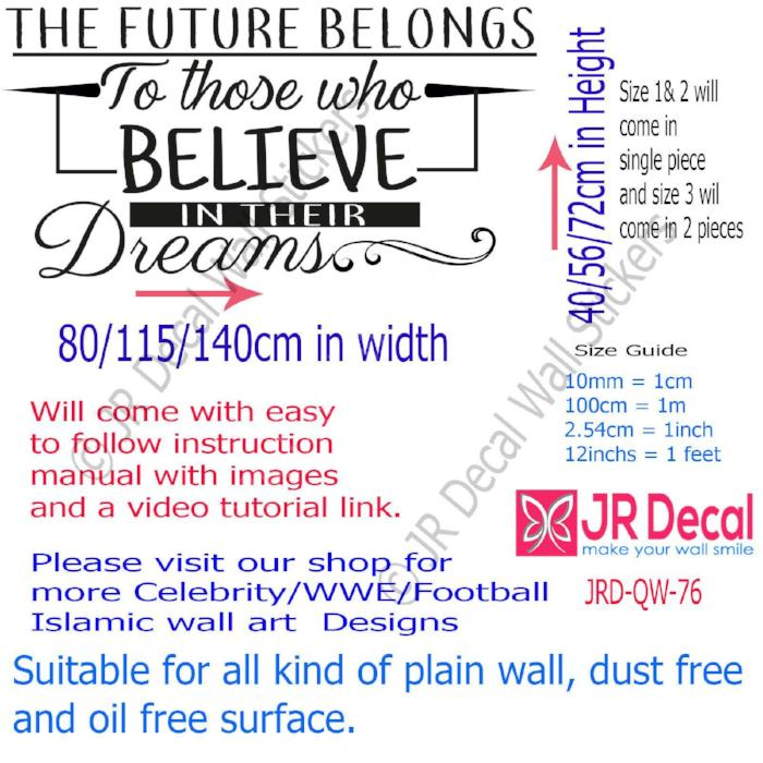 """Who Believe in their Dreams"" Quote Vinyl Wall Decals motivational Stickers Decor"
