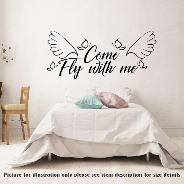 Come Fly with me -Removable vinyl Wall Art Stickers, Couple Bedroom Decal, Romantic wall art Decal, home decor Family Quote Sticker