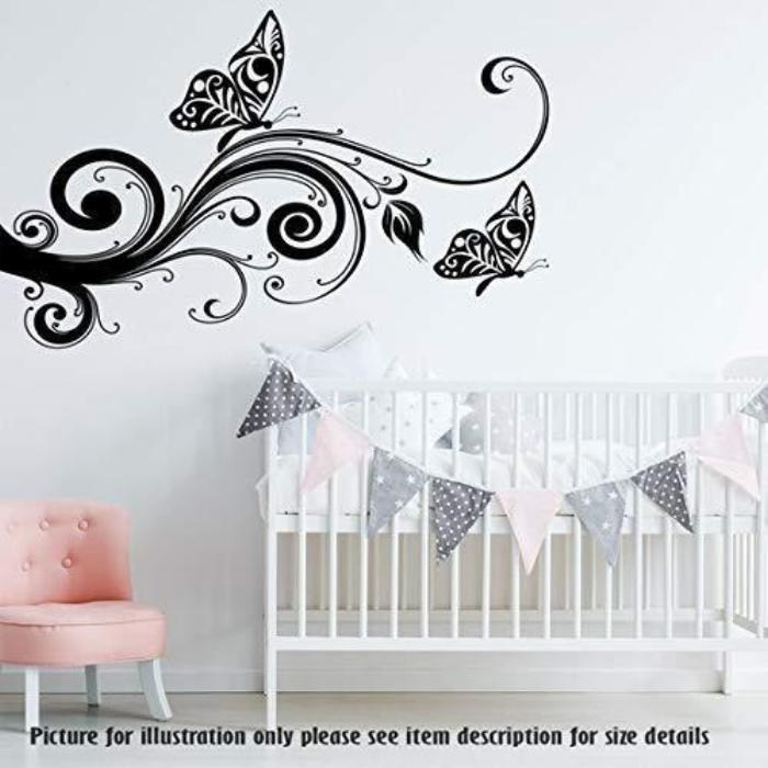 Tree art on wall with Butterfly wall sticker