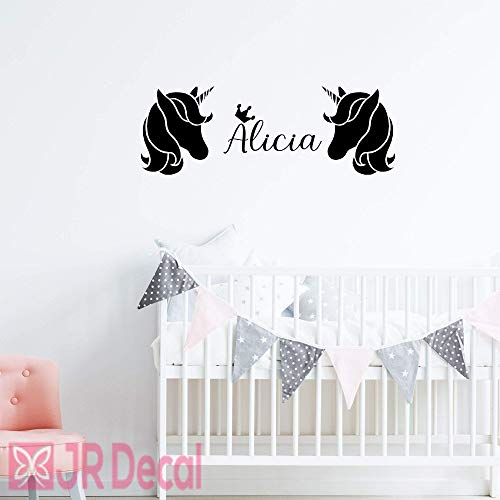 2 Unicorn sticker with Personalised name sticker