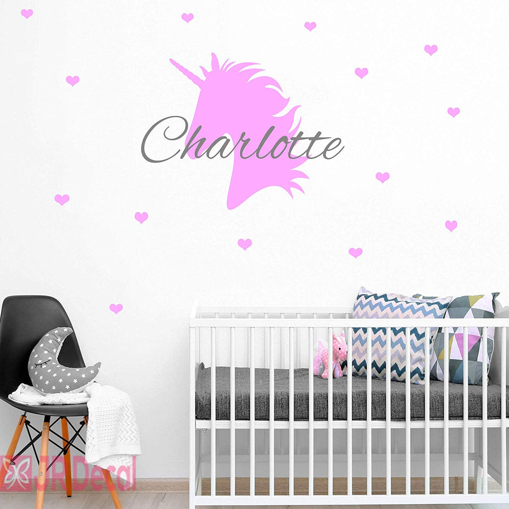 Unicorn Personalised name sticker with Heart Wall Art