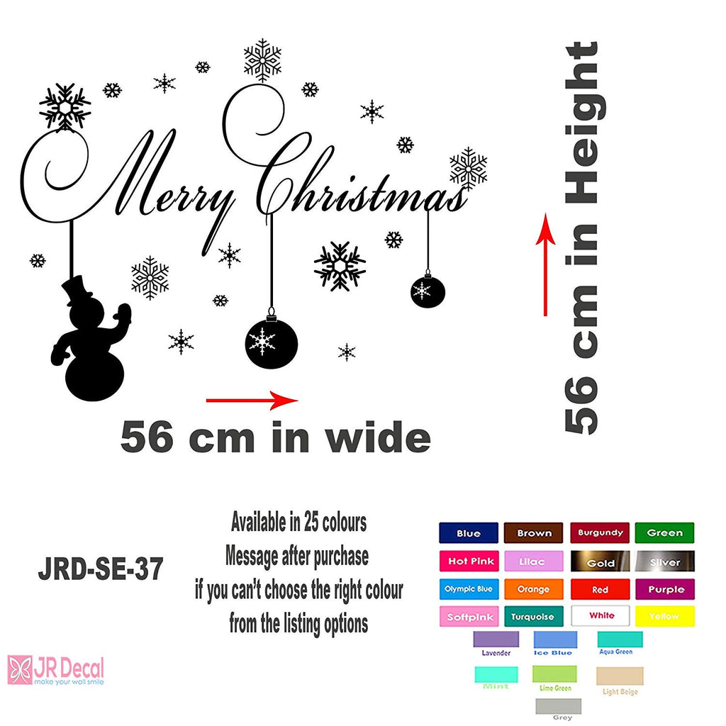 Merry Christmas Snowman snowflake wall sticker