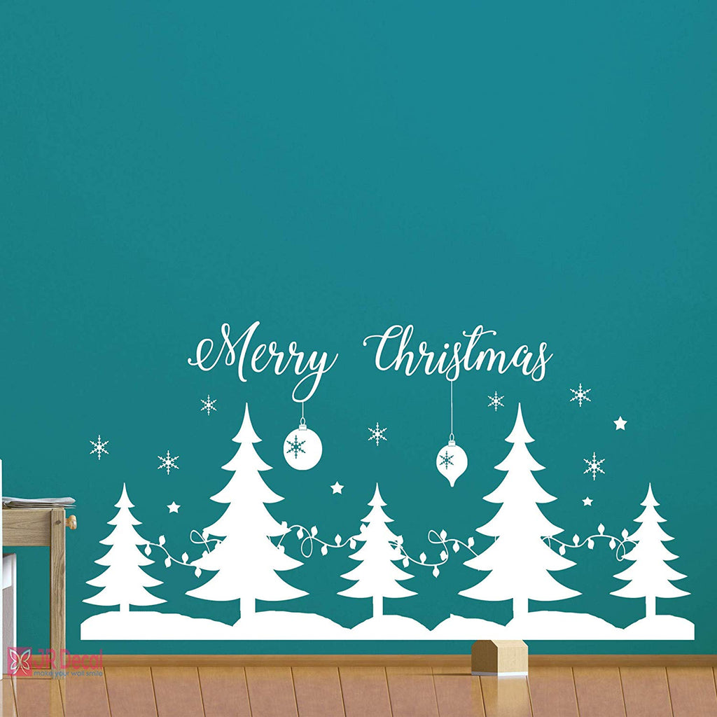 Merry Christmas tree Window sticker Merry Christmas home decor shop window decor sign