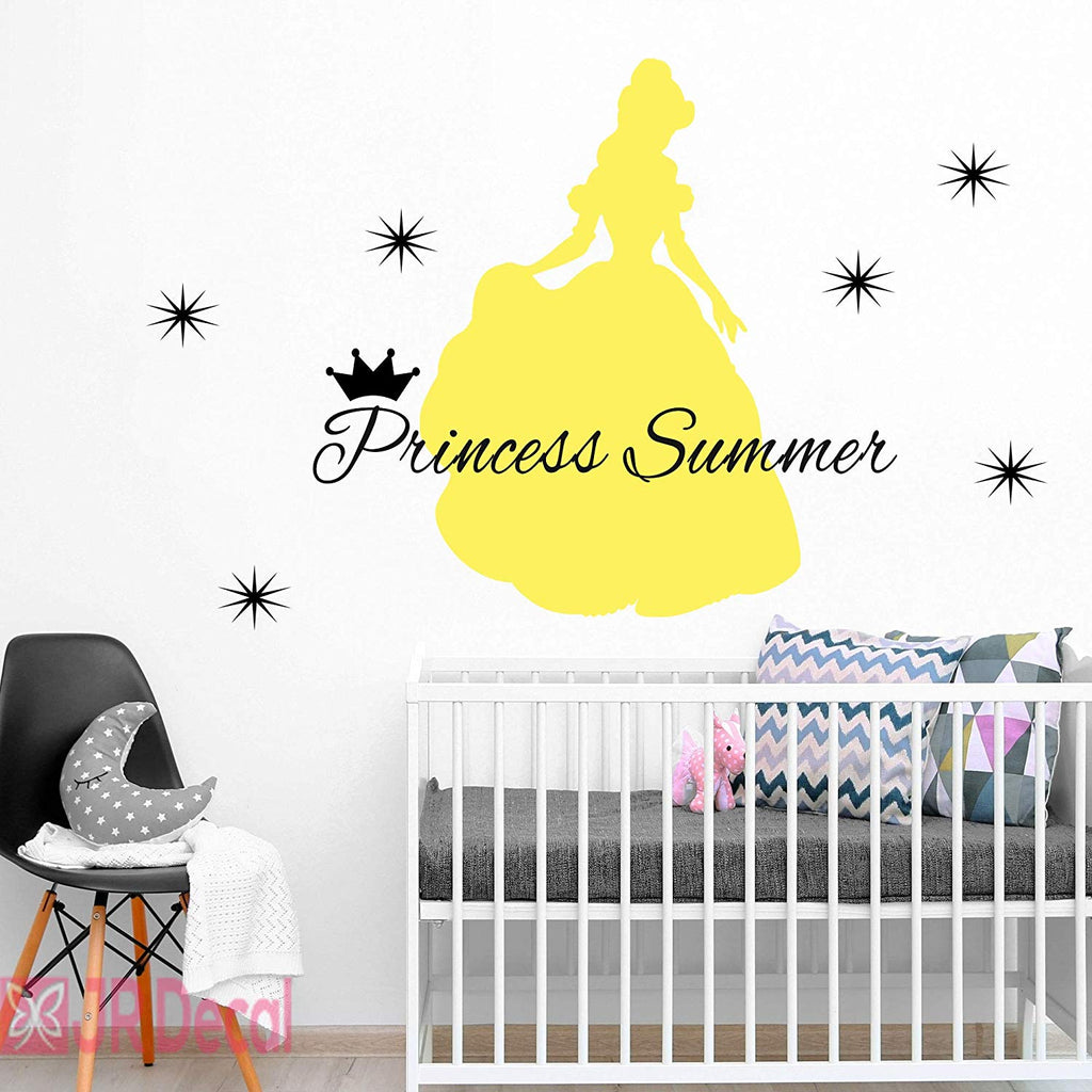 Princess Belle Personalized girls name wall stickers