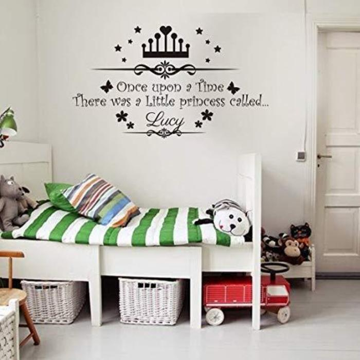 PERSONALISED name Once upon a time Princess Wall Stickers, Family figure Wall Art Sticker Nursery Wall Decal, girls name Vinyl Wall Sticker