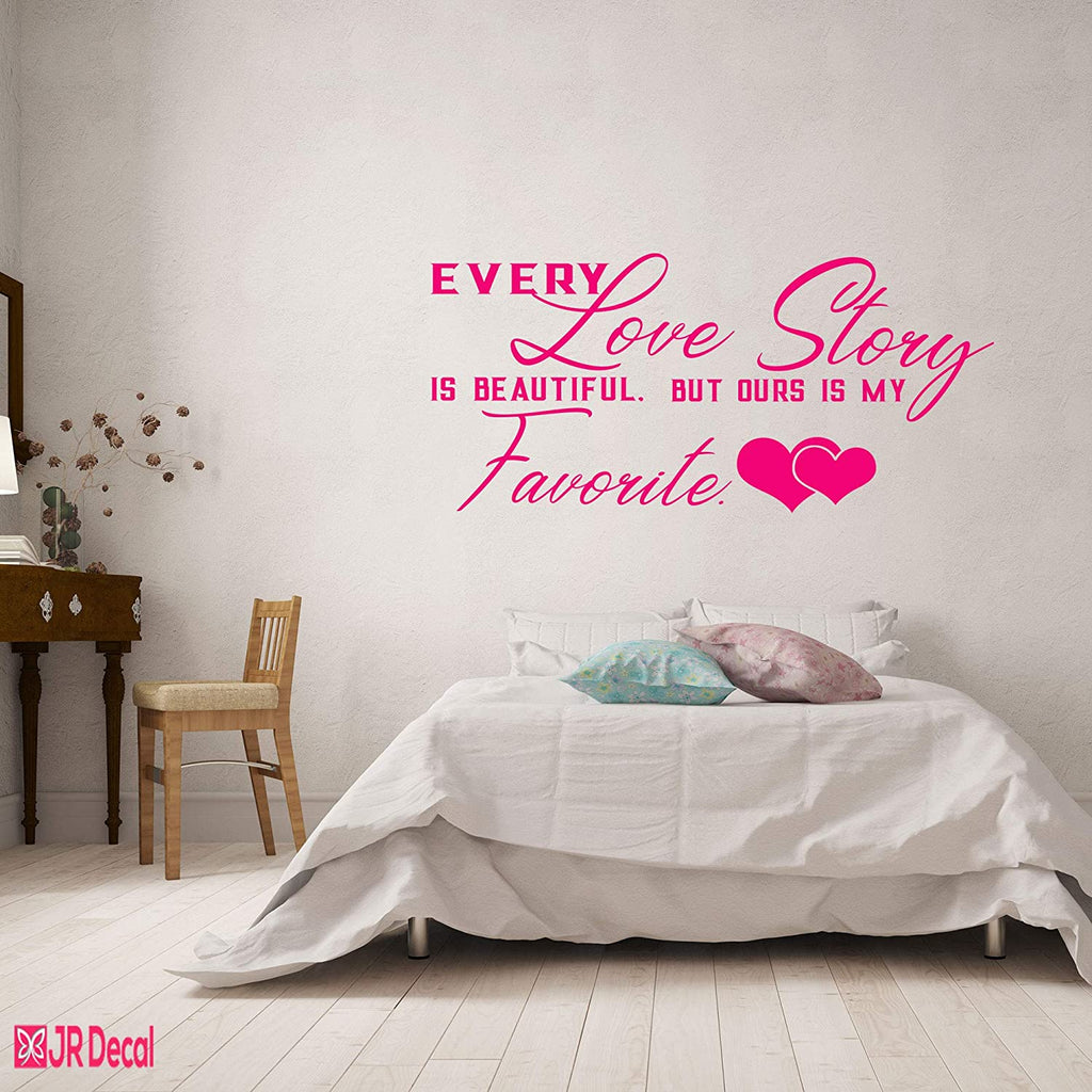 Ours Love story - Romantic quote wall stickers bedroom decor