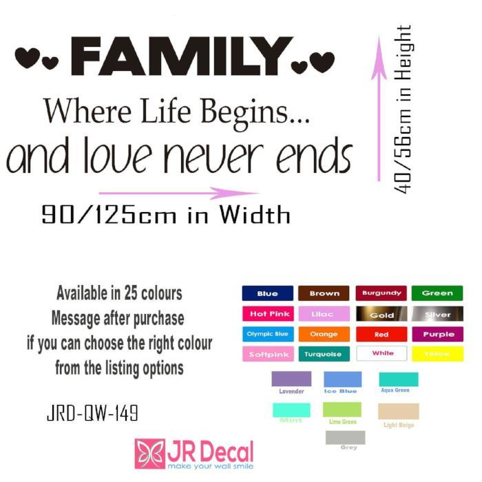Family where life Begins -Removable vinyl Wall Art Stickers, Couple Bedroom Decal, Family wall art Decal home decor Family Quote Sticker