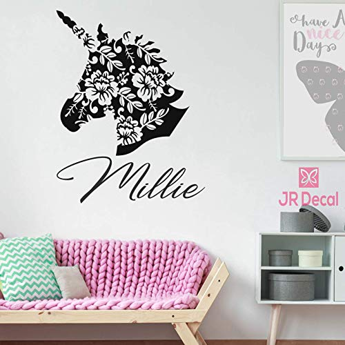 Unicorn wall sticker with Personalised name sticker