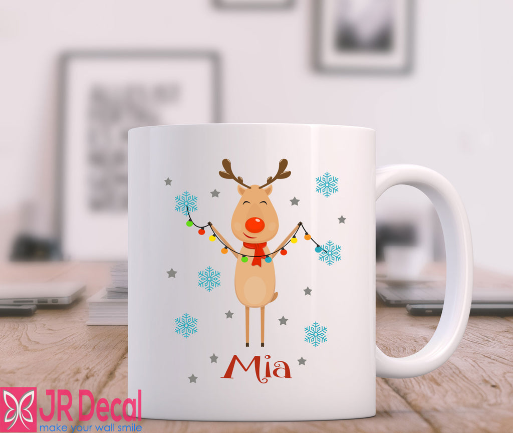 Reindeer with Snowflake Printed Personalised Name Mug
