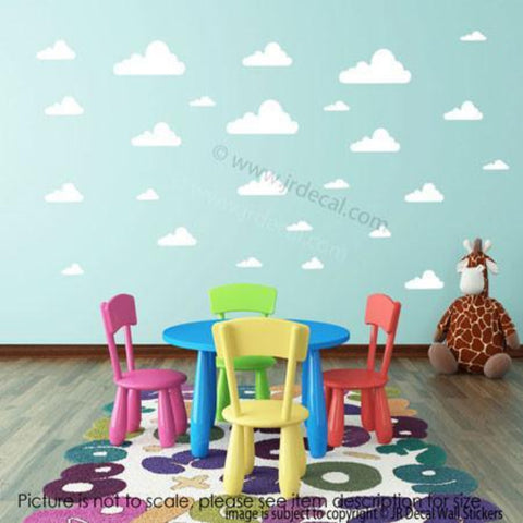 40 X Cloud Removable Wall Stickers