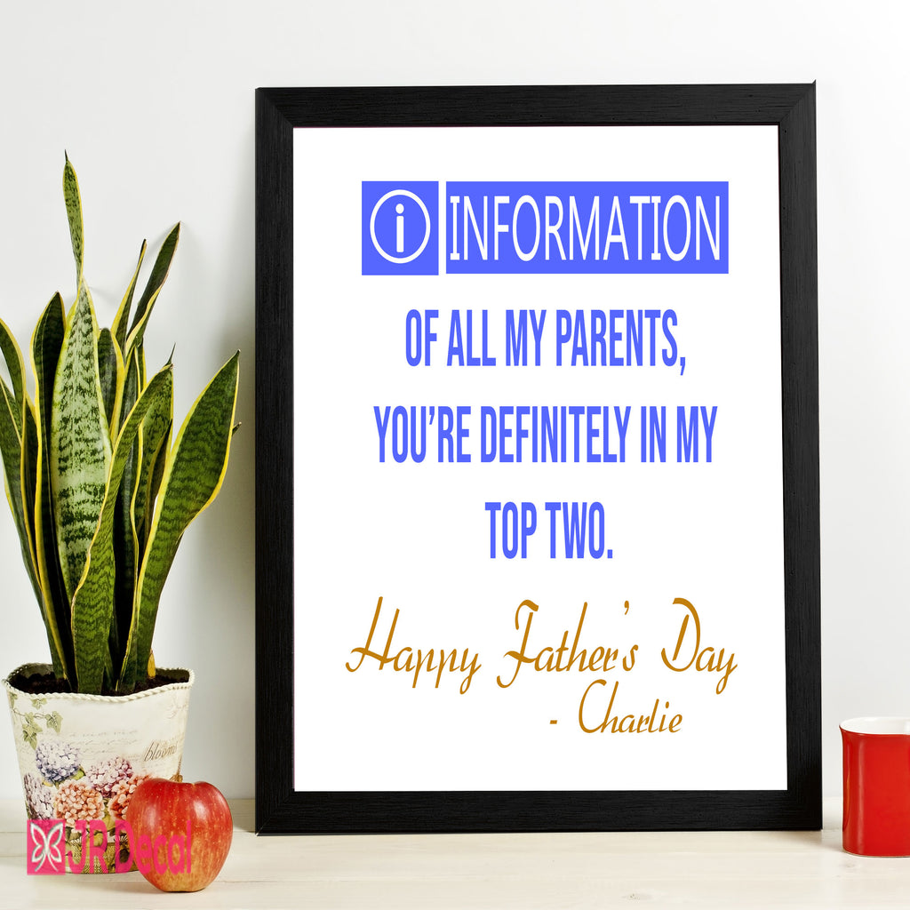 """Happy Fathers Day"" printed Personalized Photo Frame"
