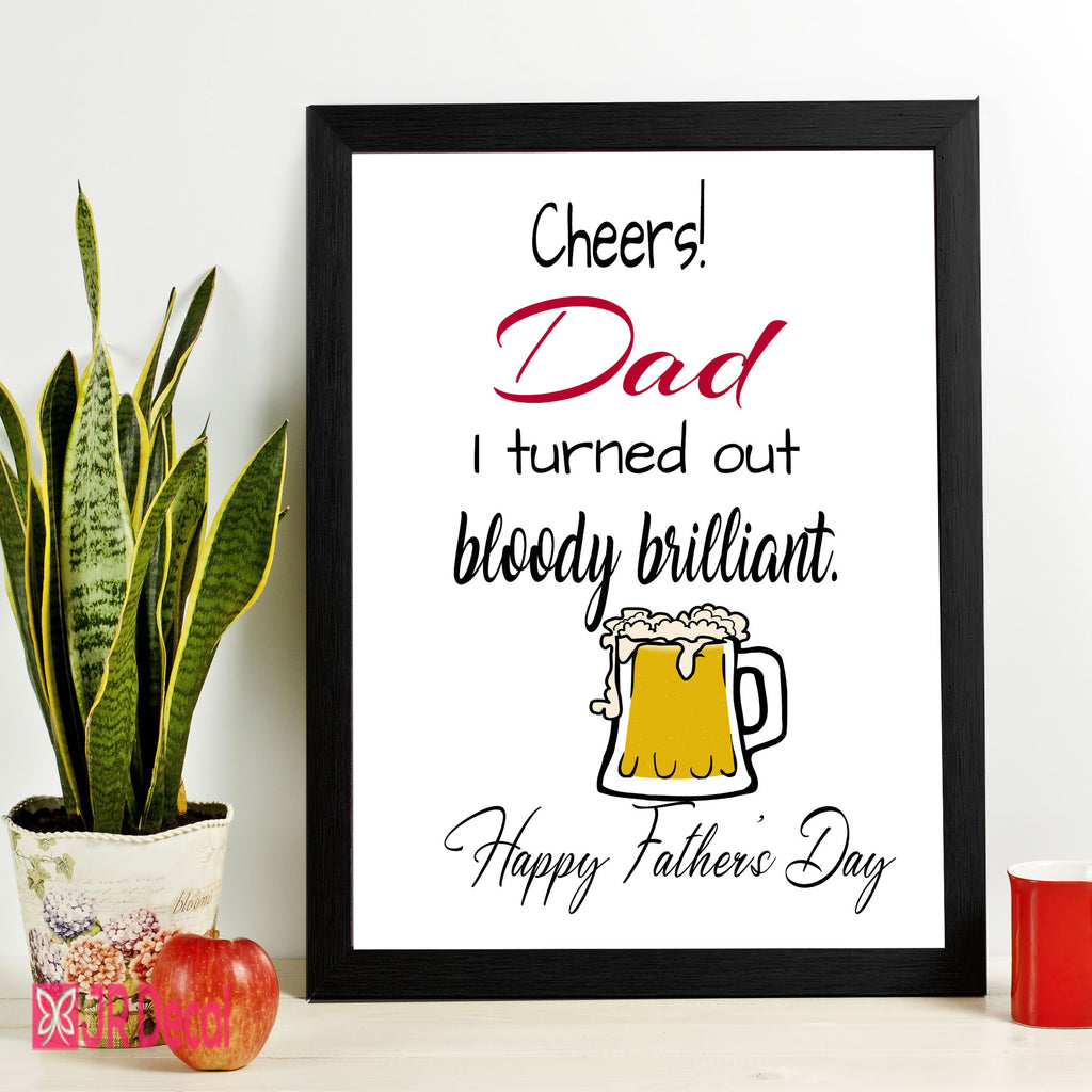 """Cheers Dad"" Printed Fathers Day Picture Frame"