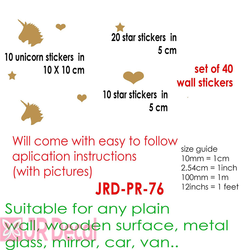 Unicorn set of 40 Wall Stickers Heart shape Wall Decals