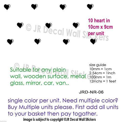 10 cm Hearts Shapes Removable vinyl Wall Decals
