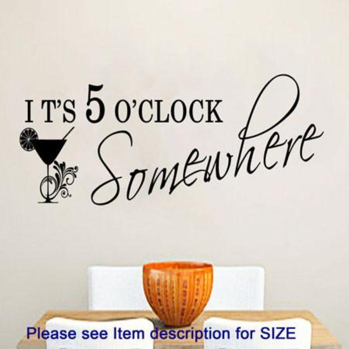 """Its 5 O'Clock Somewhere""- Kitchen quotes wall art, Restaurant wall decor"