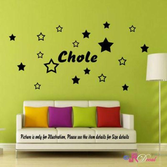 Multi Stars with Personalized Name Vinyl Wall Sticker JRD10 – JR ...