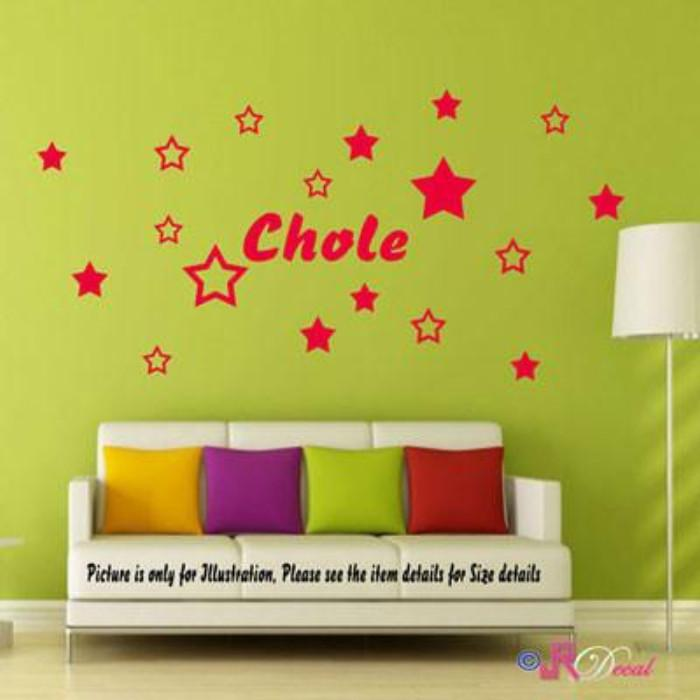 Multi Star wall stickers with Personalised name sticker
