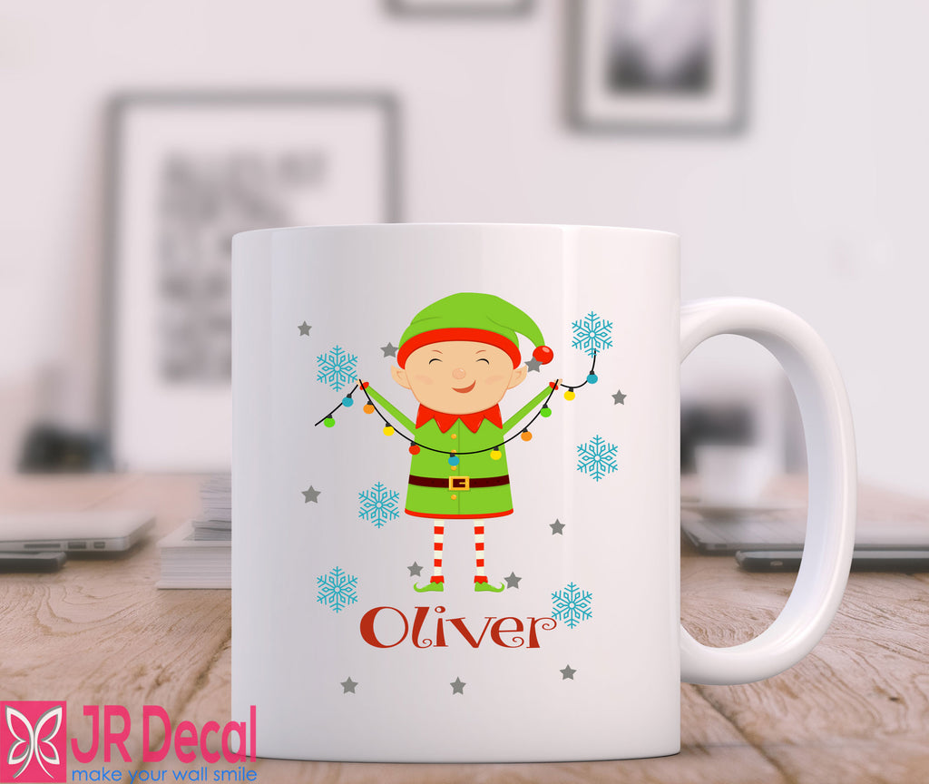 Cute Elf Printed Personalised Name Mug for Kids