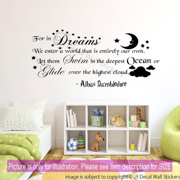 In Dreams We Enter a World that is Entirely our Own Quote Art Wall Decal QW-24