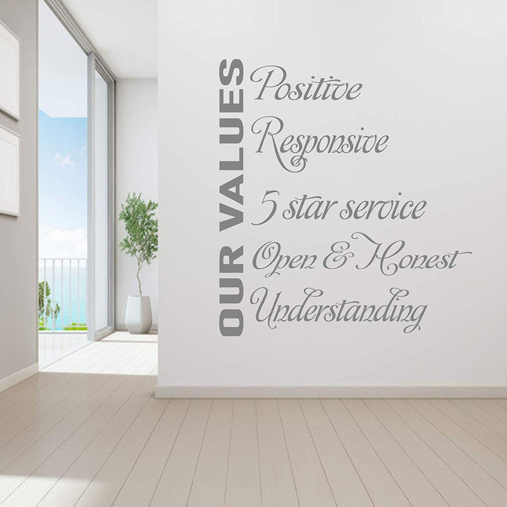Our Values- Motivational Quote Vinyl Wall Art Stickers