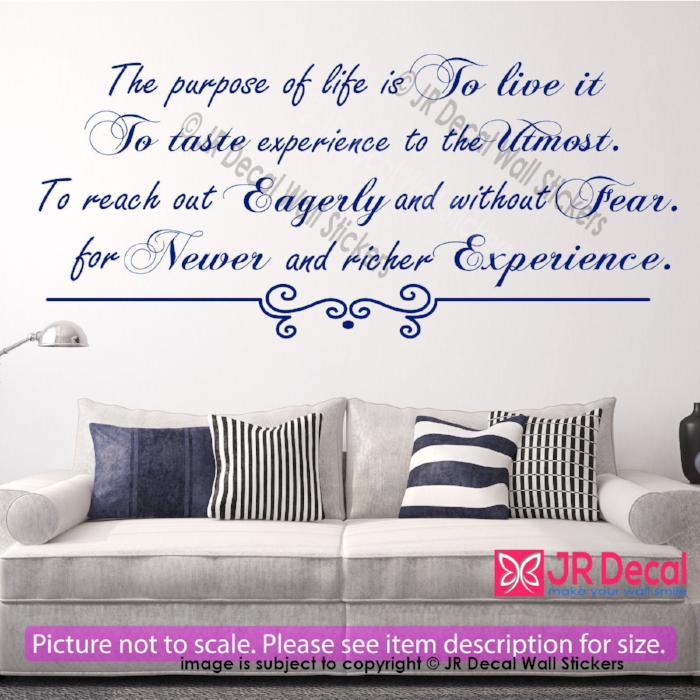 """The purpose of life is to live it""- Inspirational quotes wall stickers Vinyl wall art"