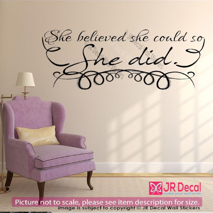 """She believed she could so she did""-Inspirational quote wall stickers Vinyl art decals"