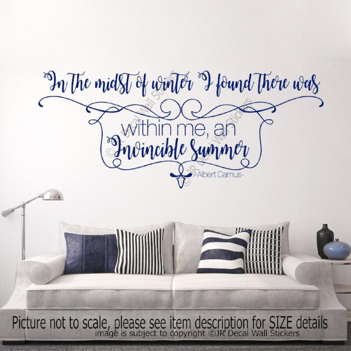 """I found Invincible Summer""- Albert Camus Inspirational quotes wall stickers"
