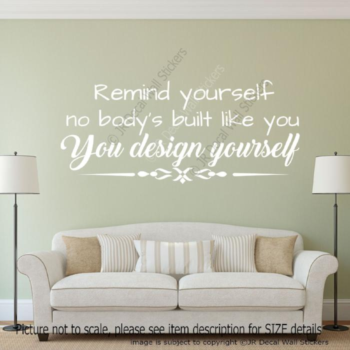 """You design yourself"" Motivational quote wall art removable stickers"