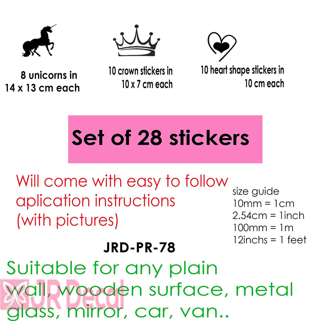 28 Unicorn Stickers set with Princess Crown