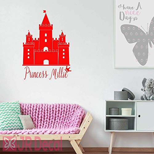 Princess Castle with Girls Personalised name sticker