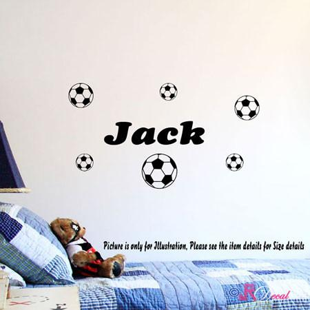 Different size 6 Football Wall Stickers Parsonalized Kid's Name