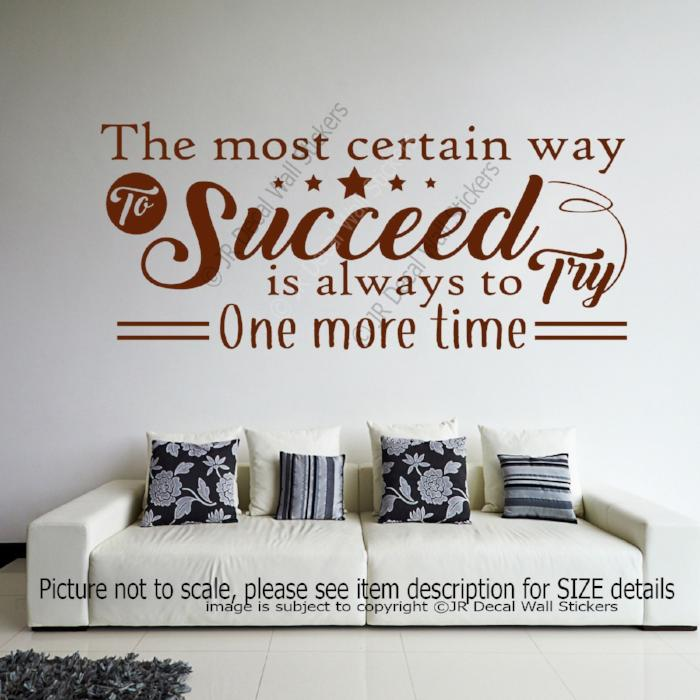"""Succeed is always to try one more time""- Thomas Edison Motivational quote wall art"