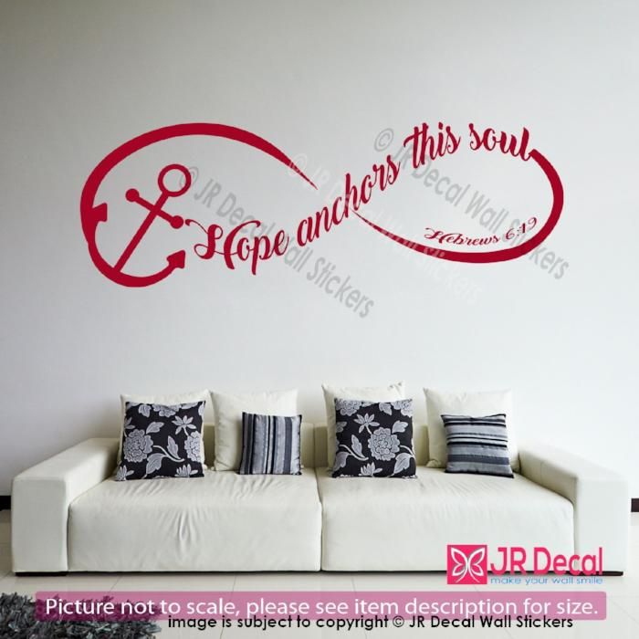 Hope anchors this soul- Hebrews 6:19 Inspirational quote wall stickers