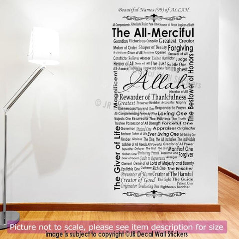 99 Beautiful Name of Allah in English Islamic Sticker JRD-AL-11
