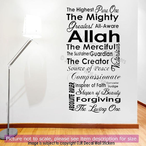 20 Beautiful Name of Allah in English Islamic Decals JRD-AL-10