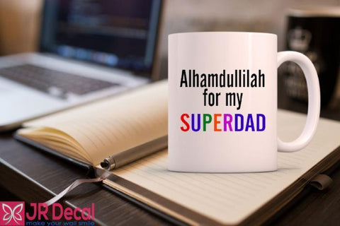 Alhamdulillah for my SuperDAD printed islamic Mug best Eid gift for dad