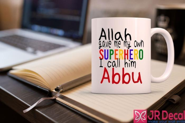 """Superhero, I call him Abbu"" Islamic Dad Mug"