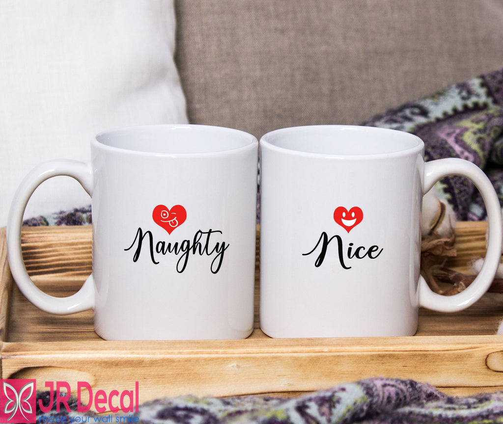 "Couple Christmas Mug Printed with ""Naughty and Nice"""